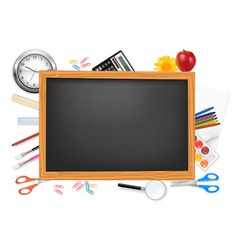 desing of back to school on the black desk vector image vector image