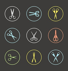 Different types of scissors vector