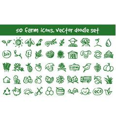 doodle farm icons set vector image vector image