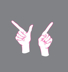 gesture direction sign two female hands with vector image