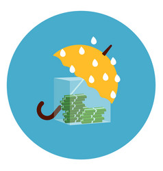 umbrella protecting money from rain icon web vector image
