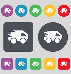 Car Icon sign A set of 12 colored buttons Flat vector image vector image