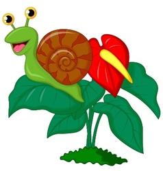 Cute snail cartoon on leaf vector image