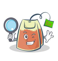 Detective tea bag character cartoon vector