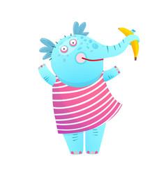 funny kids elephant eating banana in dress vector image