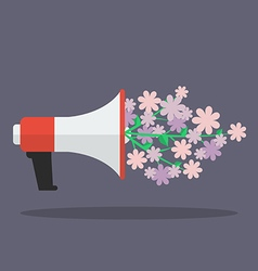Megaphone with flower flat icon vector image vector image