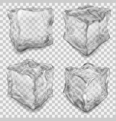 set of transparent gray ice cube vector image vector image