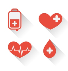 flat medical icons of donate blood with long vector image
