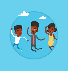 group of joyful young people jumping vector image