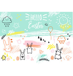 hand-drawn easter card with bunnies vector image vector image
