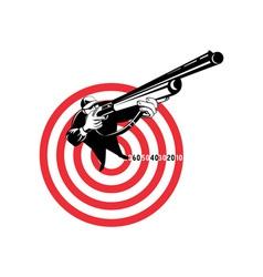 Hunter aiming rifle shotgun bulls eye high angle vector image vector image