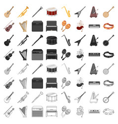 musical instruments set icons in cartoon style vector image