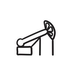 Pump jack oil crane sketch icon vector