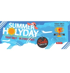 Summer Holiday Sale Banner 1500x600 Pixel vector image