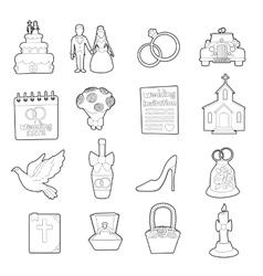 Wedding icons set ouline cartoon style vector image