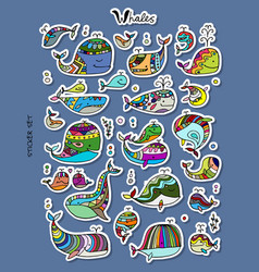 whales sticker set for your design vector image
