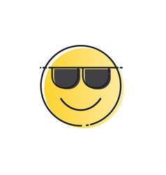 yellow smiling cartoon face wear sunglasses vector image