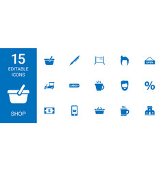 15 shop icons vector image