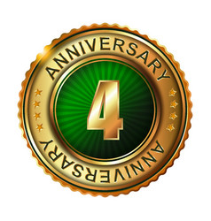 4 years anniversary golden label vector image