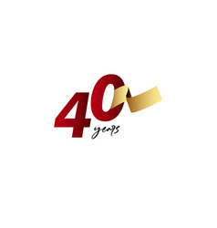 40 years anniversary celebration gold ribbon vector