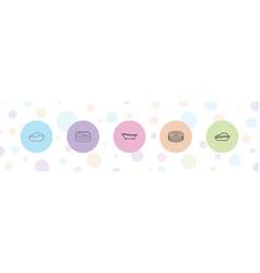 5 tub icons vector