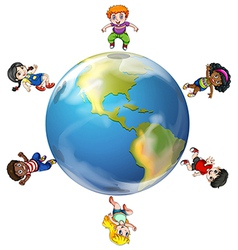 A group of people around the globe vector image
