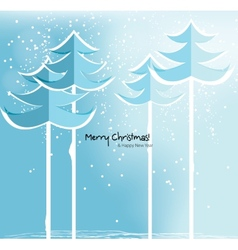 Abstract Christmas card with snowy trees vector image