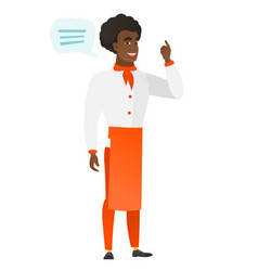 african-american chef cook with speech bubble vector image