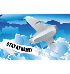 Airplane with stay at home banner vector