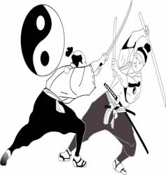 Asian sword fight vector