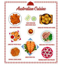 Australian cuisine menu australia food vector
