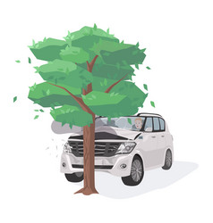 automobile damaged by colliding with tree run-off vector image