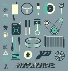 Automotive Parts Icons and Symbols vector image
