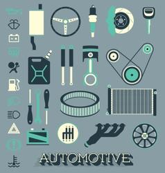 Automotive parts icons and symbols vector
