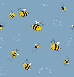 bee cute seamless pattern background for kids vector image