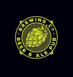 Beer and ale logo pub emblem hop cone vector
