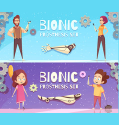Bionic prosthesis banners set vector