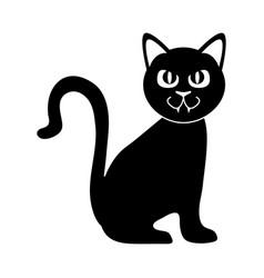 black cat sitting domestic animal silhouette icon vector image