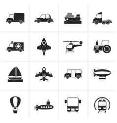 Black Different kind of transportation icons vector image