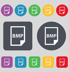 BMP Icon sign A set of 12 colored buttons Flat vector image