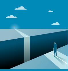 businessman facing a big gap his goal target vector image