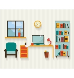 Cabinet with furniture vector