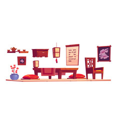cartoon interior chinese living room vector image