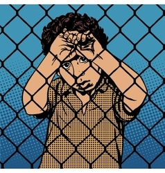 Child boy refugee migrants behind bars the prison vector