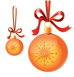 Christmas toy balls on ribbons vector image