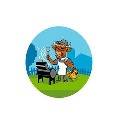 Clergy cow minister barbecue chef rooster vector