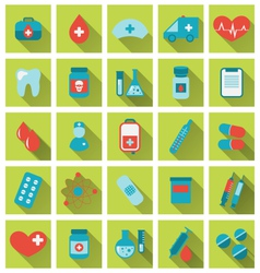 collection trendy flat medical icons with long vector image