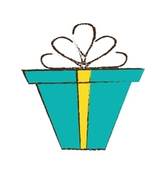 color gift box ribbon package decor sketch vector image