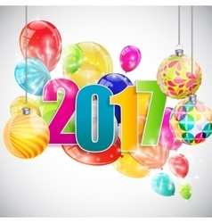 Color Glossy Balloons 2017 New Year Background vector image
