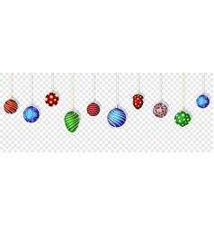 Colorful christmas balls set on transparent vector